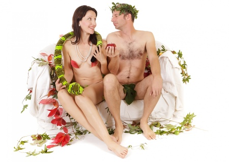 seducing: kitsch couple adam and eve seduction Stock Photo