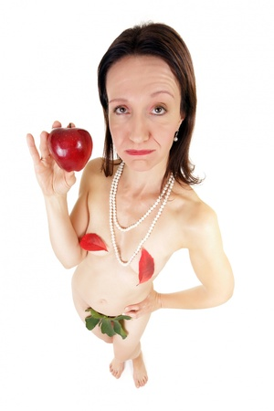 funny bored woman holding showing red apple photo