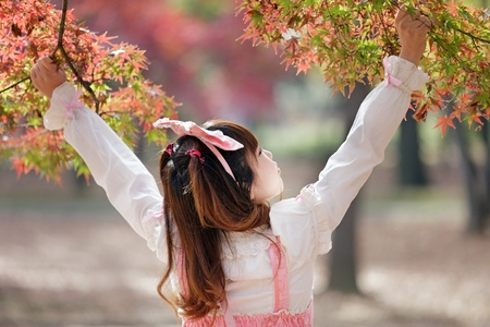 lolita: japanese girl in sweet lolita cosplay style in autumn scenery, Tokyo, Japan Stock Photo