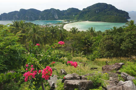 ton: view on ton sai and loh dalam bay , ko phi phi island, thailand
