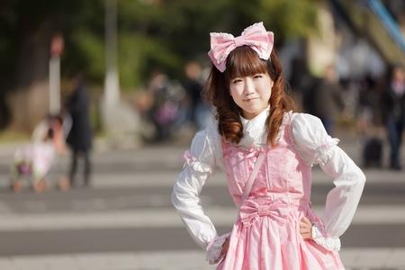 harajuku: lolita cosplay woman in harajuku park, Tokyo