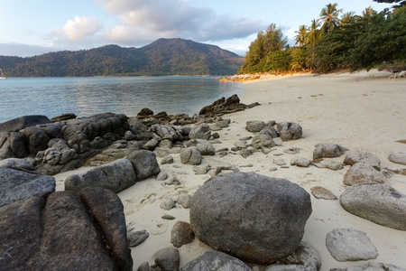 koh: tropical  scenic in ko lipe island  sunset beach, Thailand Stock Photo
