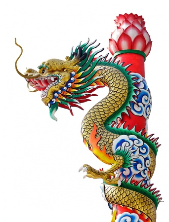 chinese dragon statue isolated on white background, Thailand photo