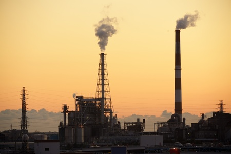 smoking plant factory in sunset, Fuji city, Japan