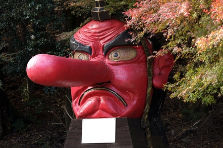 fibber: wooden statue of Tengu, japanese demon of vanity