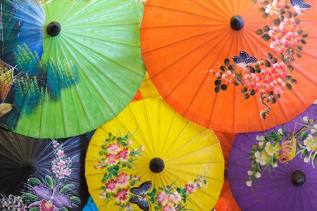 traditional thai umbrella in Chiang Mai, Thailand photo