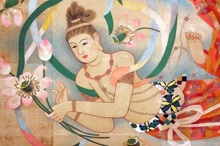 lotus temple: religious  oriental paintings on Sensoji temple buddhist temple ceiling, Tokyo, Japan
