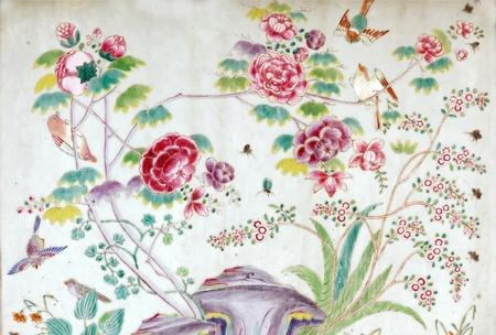 Traditionellen religiösen asiatischen Malerei auf Keramik, Tempel Wat Phra Keo, Bangkok, Thailand Standard-Bild - 13387155