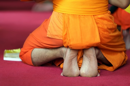 monk robe: closeup on buddhist monk sole of the foot during praying ceremony, Thailand