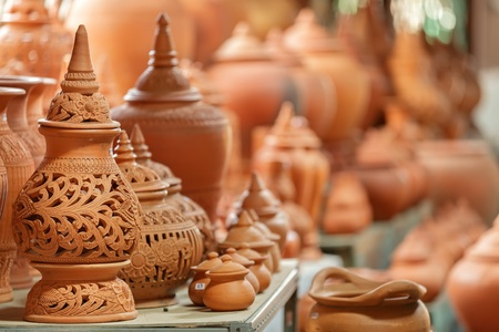 Thai traditional clay pottery in ko Kret island, thailand