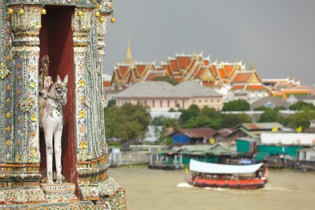 View on wat arun temple sculpture ceramics and royal palace, Bangkok, Thailand photo