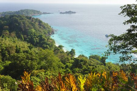 viewpoint: ko similan island jungle and costline landscape from viewpoint, Thailand Stock Photo