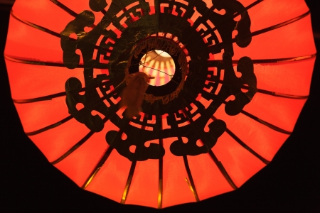 pattern detail of illuminated chinese lantern photo
