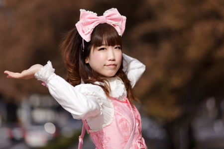 lolita: japanese cosplay in pink lolita