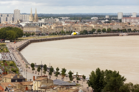 dockside: Aerial view on Bordeaux dockside and Garonne river, France