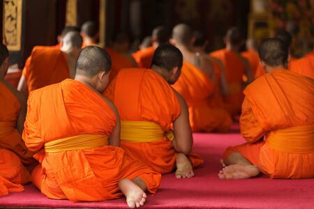 thai monks praying during ceremony, Bangkok, Thailand
