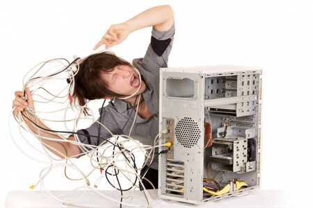 business woman going mad with computer problems photo