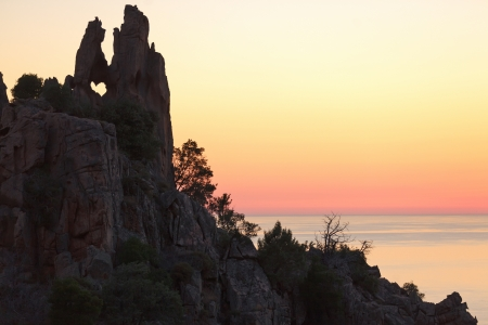 heart shaped rock in Piana calanche, Corsica island, France photo
