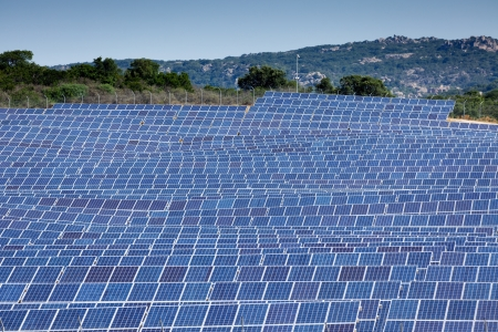 large blue solar panel field in France photo