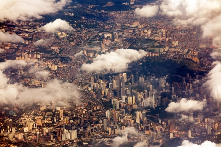 kuala lumpur city: aerial airplane view on Kuala Lumpur, Malaysia Stock Photo