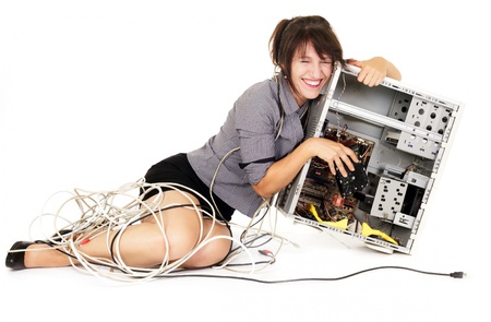 confuse woman hugging computer and laughing photo
