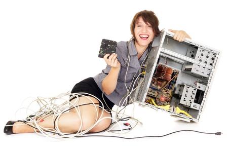 disco duro: mujer extática celebración de unidad de disco duro y el ordenador
