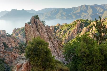 Rocky coastline landscape at sunset, Corsica island, France