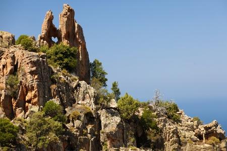 heart shaped rock in Piana calanche, Corsica island, France
