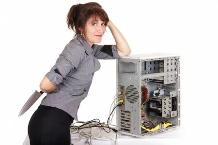 business woman going to kill computer photo