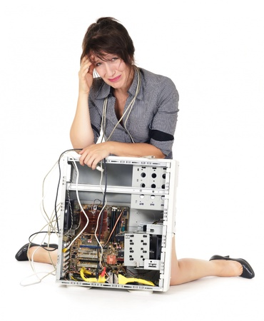 confuse woman crying for computer problem photo