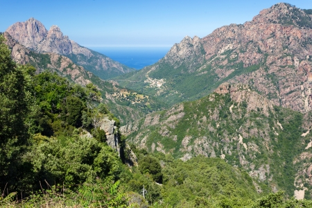 Corsica island mountain landscape and sea photo