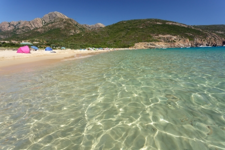 clear mediterranean water in Arone beach, Corsica island, France photo