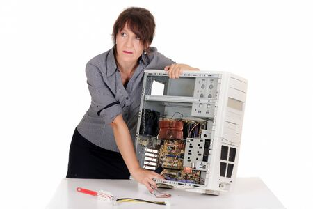 confuse woman having problem with computer Stock Photo - 15573367