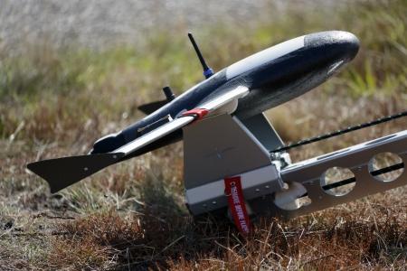 leger UAV afstandsbediening vliegtuig klaar om gelanceerd te worden Stockfoto