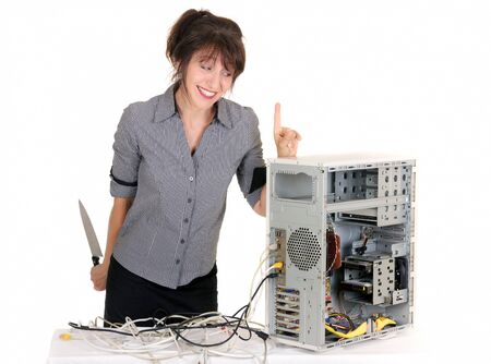 business woman warn her computer before killing it   photo