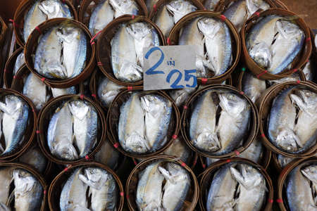 Fresh mackerel fishes in bamboo basket, Thailand Stock Photo - 17081495
