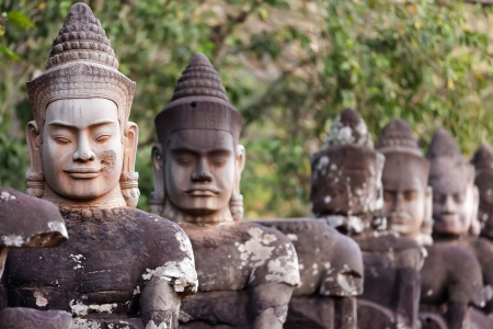 Figures guardians statues of Angkor Thom south door, Cambodia Stock Photo - 17535783