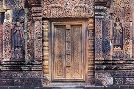 khmer: Ornate Khmer door in Banteay Srei temple, 40 km from Angkor, Cambodia