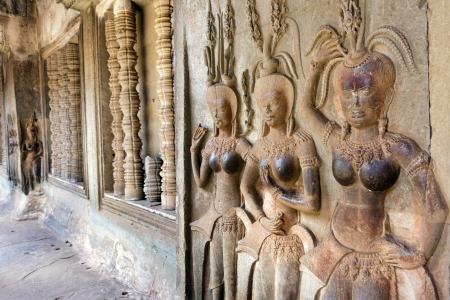 Aspara nymph carving in Angkor Wat temple, Cambodia Stock Photo - 17694532
