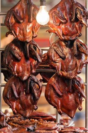 chinatown: Roated Peking duck in Chinese restaurant