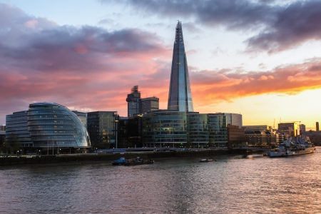 Dusk on the new London skyline, view from tower bridge Stock Photo