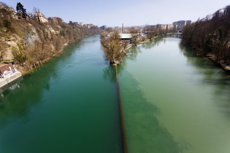 rhone: Two rivers junction, the Rhone and the Arve, in Geneva, Switzerland