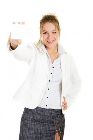 Blond business woman holding card over white, focus on Card photo