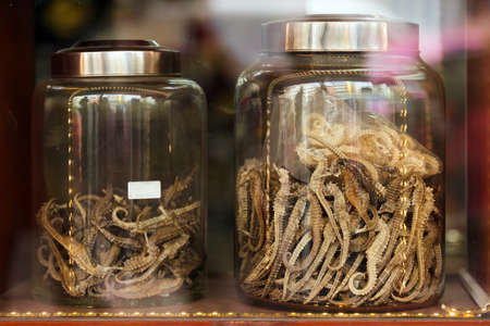 dried fish: Dried seahorse in Chinese drugstore, Chinatown, Bangkok Stock Photo