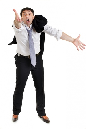argumentative: Emotional businessman with his suit jacket slung over his shoulder pleading his cause gesticulating with both hands, full length portrait isolated on white