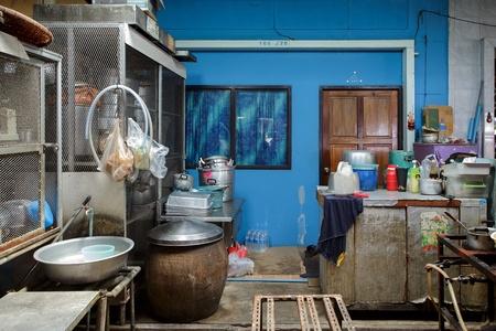 messy kitchen: Traditional Thai street kitchen in Bangkok, Thailand