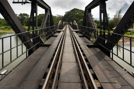 diminishing: Ricer Kwai bridge railway diminishing perspective view, Thailand Stock Photo