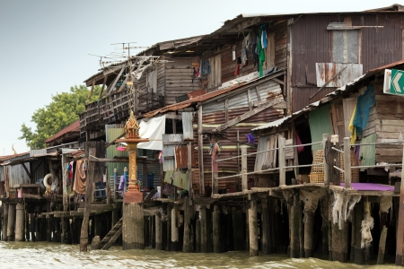 shanty: Shanty house in Bangkok water canals along the river bank, Thailand