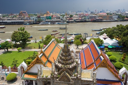 grand palace: Bangkok river cityscape view from Wat arun temple top, Thailand