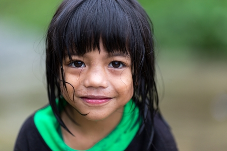 BANAUE, PHILIPPINES, DECEMBER 4 : A young unidentified Filipino little girl Editorial